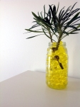 You can also use hydrogel instead of water for cut flowers. Here I have just put a cutting from the garden into a jar.